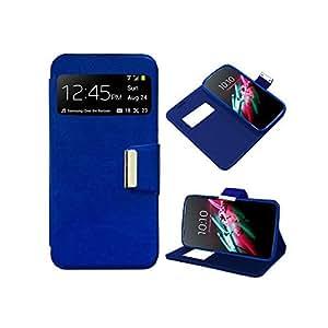 Funda Cuero Piel para Nokia Lumia 640 Azul con Soporte e Identificador de Llamada