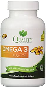 Omega 3 Fish Oil, Triple Strength, Highest Quality, Burpless, Non-GMO, 60 gelcaps