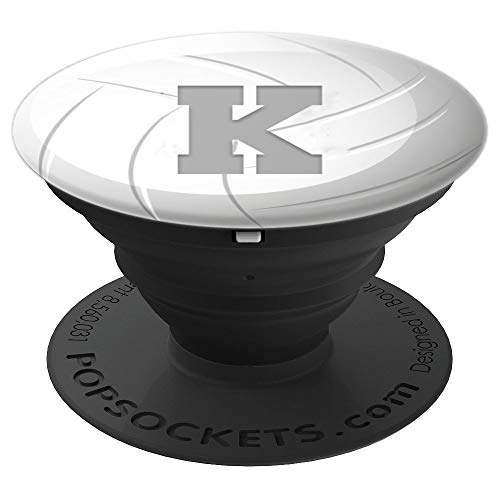 White Gray Volleyball Player Gift Initial Letter K Monogram - PopSockets Grip and Stand for Phones and Tablets