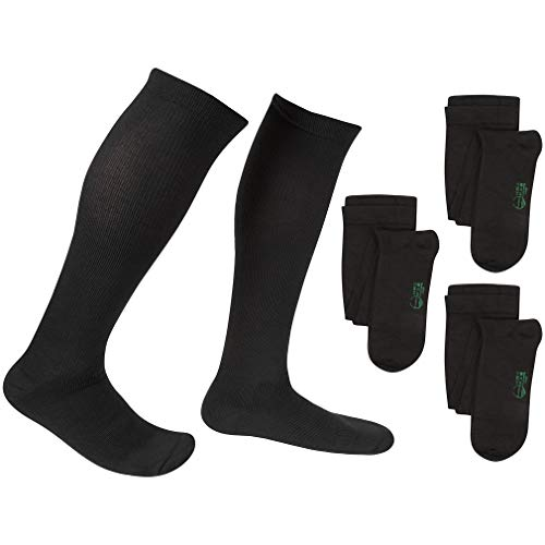 3 Pair EvoNation Men's USA Made Graduated Compression Socks 20-30 mmHg Firm Pressure Medical Quality Knee High Orthopedic Support Stockings Hose - Best Comfort Fit, Circulation, Travel (XL, Black)