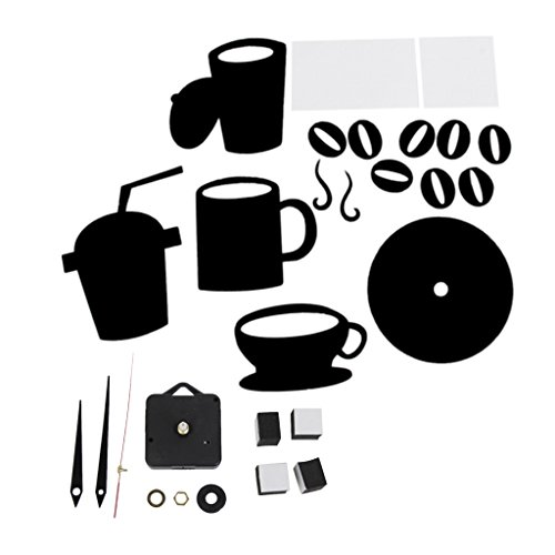 DIY Modern Home Decor Large Coffee Cup Decal Kitchen Wall Clocks Silent Watch Decals Black by Generic