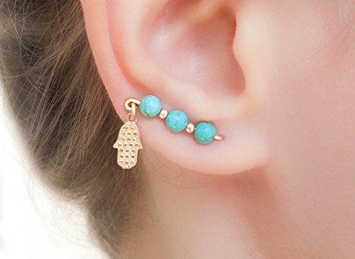 - Turquoise ear climbers Gold Hamsa Hand Charm Lucky Earrings