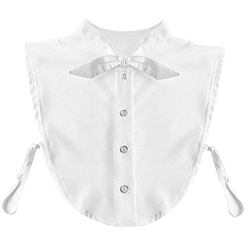 Mujeres blanco Bowknot gasa falsa camisa media desmontable blusa cuello de la camisa con banda elástica de busto