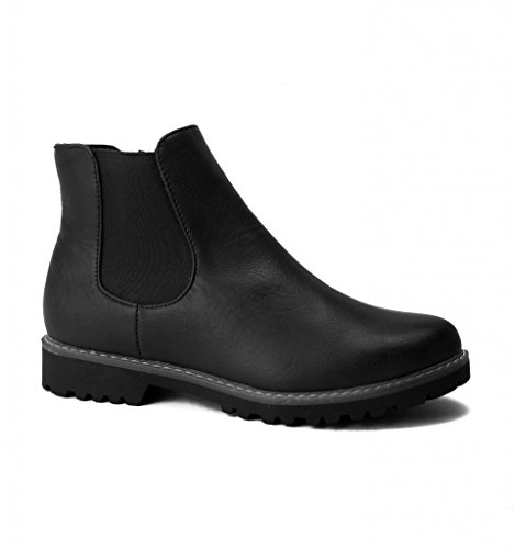 Divaz Black Casual Ankle Chelsea Slip Womens ladies Boots On Grace BSqfB