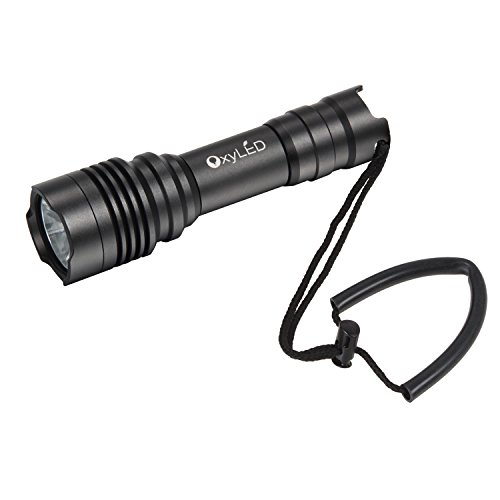 OxyLED OxyWild DF10 1050 lumen Diving Flashlight, Super Bright CREE LED Submarine Light Underwater Flashlight, Underwater Torch with 1 x 18650 Rechargeable Battery & Charger, Black