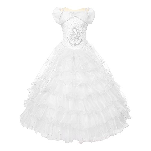 The Rain Kids Rainkids Big Girls White Virgin Mary Sparkly Tulle Organza Communion Dress 8]()