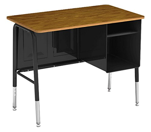 Virco Executive Desk, Black Desk Frame, Medium Oak Surface,  20 x 34 inch Work Space ()