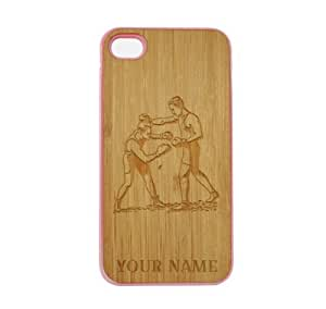 SudysAccessories Personalized Customized Custom Boxing On Wood Engraved Pink iPhone 4 Case - For iPhone 4 4S 4G - Designer Real Bamboo Back Case Verizon AT&T Sprint(Send us an Amazon email after purchase with your choice of NAME)