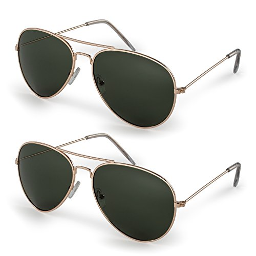 Stylle Classic Aviator Sunglasses with Protective Bag, 100% UV Protection (2 Pairs) Gold Frame/G15 Lens -