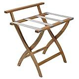 Wooden Mallet Wallsaver Luggage Rack, Silver Straps, Light Oak