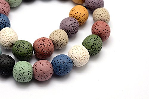 52pc Earth Tone Assorted Lava Rock Beads- Natural Gemstone Dyed- Round 8mm ()