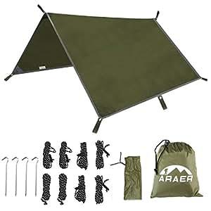 Lona Camping Impermeable, ARAER Toldo de Refugio Portátil