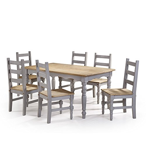 olid Wood Dining Set with 6 Chairs and 1 Table - Includes Modhaus Living Pen (Gray) ()