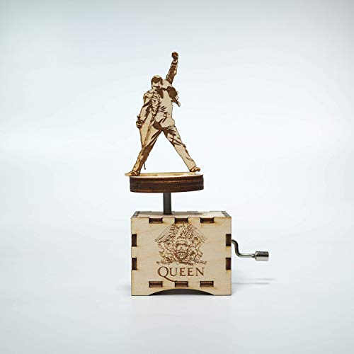 Queen Music Box- Freddy Mercury - We Are the Champions - Personalized engraved gift. Hand cranked - Birch Music Box