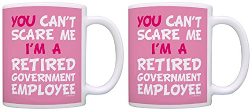 Retired Mailman Gifts Can't Scare Me I'm Retired Government Employee Funny Government Retirement Gifts Government Personel 2 Pack Gift Coffee Mugs Tea Cups Pink