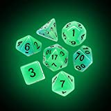 Gbell 7 Pcs/21 Pcs Luminous Glow Dice Game Set for Dungeons and Dragons Role Playing Game D&D RPG Shadowrun and Math Teaching, Polyhedral D4-D20 Multi Sided Acrylic Game Dice Glow in The Dark (A)