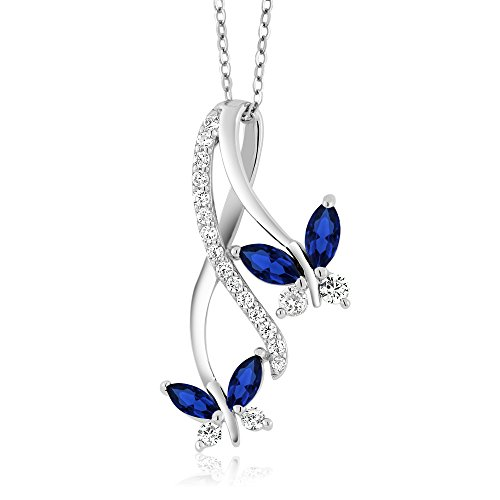 [1.21 Ct Marquise Created Blue Sapphire 925 Sterling Silver Butterfly Infinity Pendant Necklace With 18 Inch Silver Chain] (Butterfly Chain Necklace)