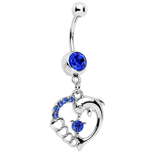 Body Candy Dark Blue Accent Complete Heart Dolphin Dangle Belly Ring