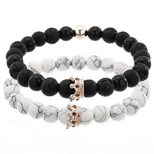 YASEF Bracelet 2Pcs/Sets Micro Pave Crown Charm Bracelets Set for Women Men's Couple Bracelet Bangles Sets
