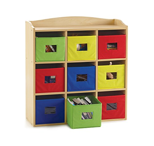 Guidecraft Colorful Bin Cubby Deluxe - Office School Supply Furniture, Kids Toy Organizer and Multi-Compartment Classroom Storage