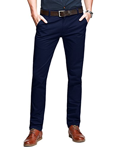 Match Mens Slim-Tapered Flat-Front Casual Pants(32W x 31L,Dark blue)