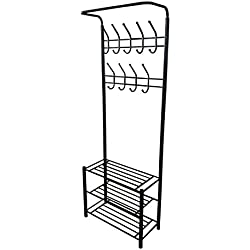Black Metal Entryway Storage 3-tier Shoe with Coat Hat Rack 18 Hooks