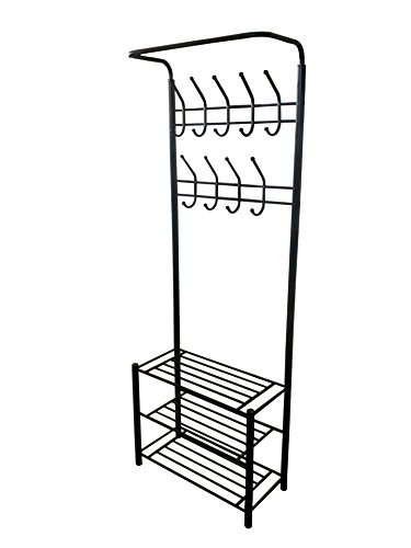 Coat Hat Rack (Black Metal Entryway Storage 3-tier Shoe with Coat Hat Rack 18 Hooks)