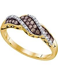 10k Yellow Gold Round Chocolate Brown Diamond Band Ring (1/5 Cttw)