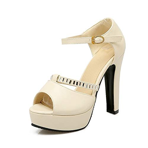 Beige Spring Chunky Women'S Beige Blue Comfort Pu QOIQNLSN amp; Shoes Summer Heels Polyurethane Pink Heel HgIIw6qxB1