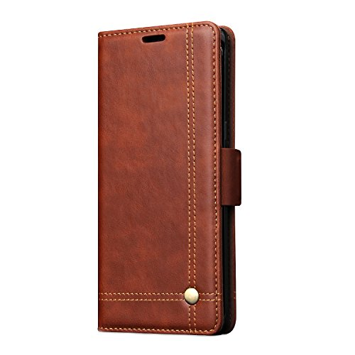 Samsung Galaxy Note8 Wallet Case,TACOO Premium Pu Leather Kickstand Card Money Slot Magnet Buckle Fold Full Protection Brown Phone Cover for Samsung Galaxy Note 8 2017