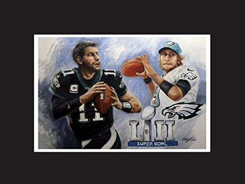Eagles, Super Bowl 2018 championship. Oil painting posters Nick Foles and Carson Wentz. Size 16 X 20