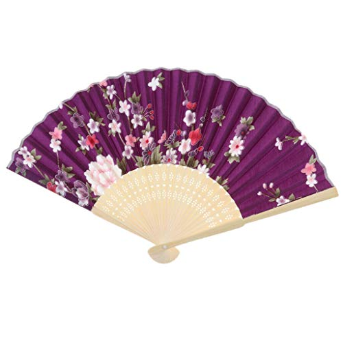 Agordo Handheld Fans Silk Bamboo Folding Fan for Church Wedding Party Decoration |Color - Purple