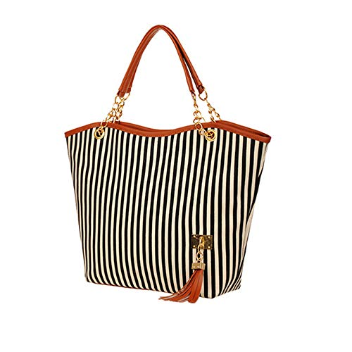 Womens Canvas Handbag Tassel Stripes Purse Tote Fashion Shoulder Bag Large Capacity, Black and White