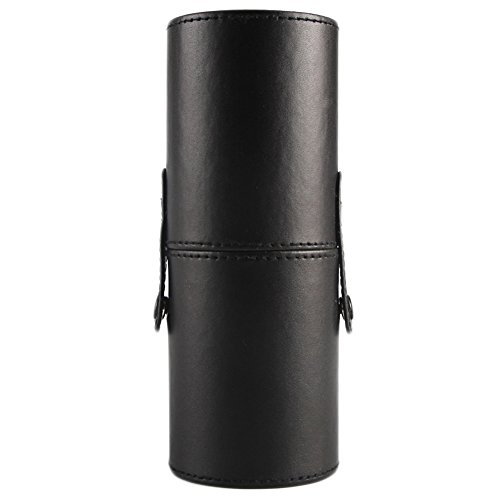 Leather Cosmetic Cup Case Makeup Brush Cup Holder Empty Storage Box Organizer (Black)
