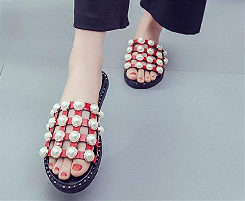 NEWZCERS Zapatillas planas rebordeadas sólidas del verano de la manera para las mujeres Rojo