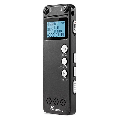 er - Audio Sound Recorder, MP3 Player Recorder 3072Kbps Dictaphone, Ultra Thin 8GB Double Microphone, AGC Noise Reduction, Vansky Voice Recorder for Lecture, Class, Meeting, Spy (Hand Held Stereo)