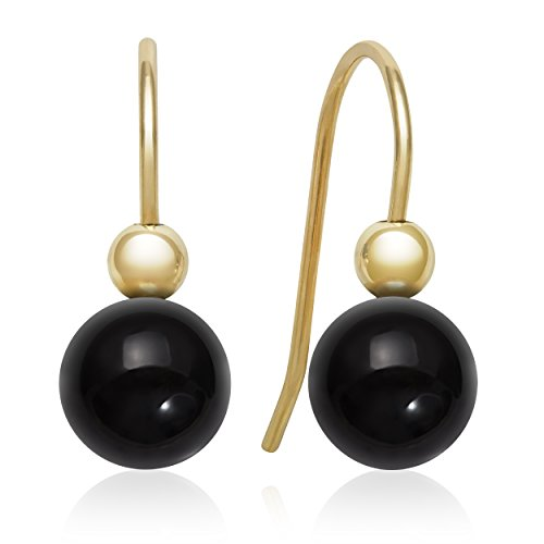 14k Yellow Gold Black Onyx Fishhhook Drop Dangle (14k Yellow Gold Onyx)