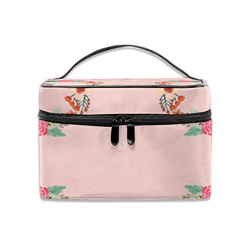 8 Inch Tibetan Terrier Floral Wreath Flowers Dog B Travel Makeup Bag Cosmetic Cases Organizer Portable Storage Bag for Cosmetics Makeup Brushes Toiletry Travel Accessories