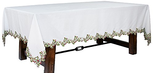 Xia Home Fashions Holiday Holly Embroidered Cutwork Christmas Tablecloth, 70 by 120-Inch, White by Xia Home Fashions