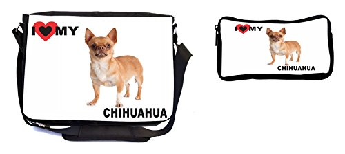 Rikki Knight I Love My Brown Chihuahua Dog Design Multifunction Messenger Bag - School Bag - Laptop Bag - with Padded Insert for School or Work - Includes Pencil Case by Rikki Knight (Image #4)