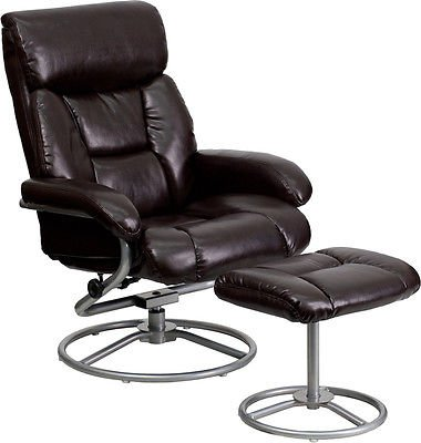 Contemporary Brown Leather Recliner and Ottoman with Metal Base - Home Furniture