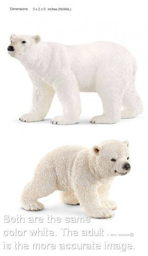 Schleich Wildlife World of Nature Set of New Polar Bears Adult and Cub Bagged Together Ready to Give