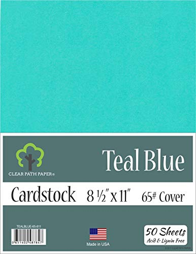 (Teal Blue Cardstock - 8.5 x 11 inch - 65Lb Cover - 50 Sheets )