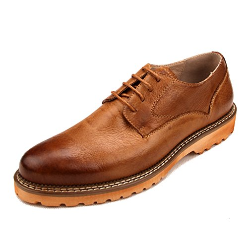 Santimon Mens In Vera Pelle Unica Piattaforma Di Sutura Auto Affari Oxford Causale Scarpe Marroni
