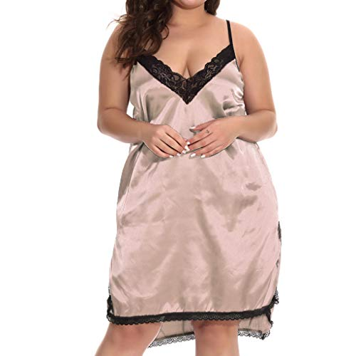 WUAI Womens Sexy Lingerie Plus Size Big and Tall Lace Babydoll Sleepwear Nightgown(Pink,Small)]()