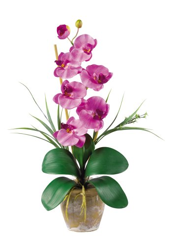 Nearly Natural 1016-MA Phalaenopsis Silk Orchid Flower Arrangement, Mauve