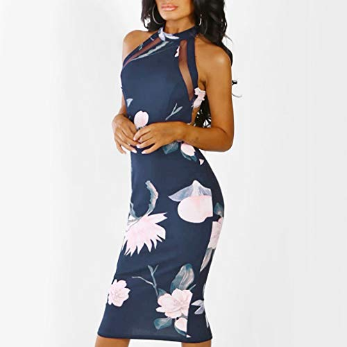 Bodycon Midi Dress Women Off Shouder Blooming Babe Floral Dip Hem Evening  Dress Navy 13328351b5d9