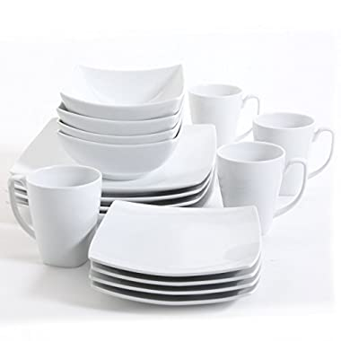 Gibson Elite Gracious Dining Square 16 Piece Dinnerware Set, White