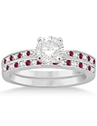 Ruby and Diamond Engagement Ring Bridal Set Palladium (0.47ct) (No center stone included)