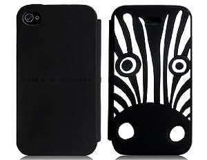 Zebra Design Silicone Flip Case for iPhone 4/ 4S (Black)